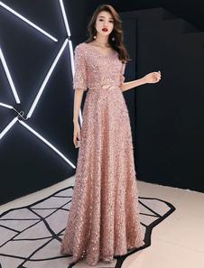 Вечерние платья из блесток Макси с половиной рукавов и V-образным вырезом Длина пола Вечерние платья