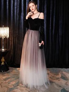 Пром платья с длинным рукавом макси тюль бархат лоскутное вечерние платья