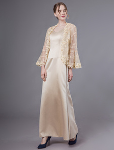 أم العروس فساتين الزي سترات الغلاف يرفع الشمبانيا الرباط الحرير مطرز فستان زفاف الحزب