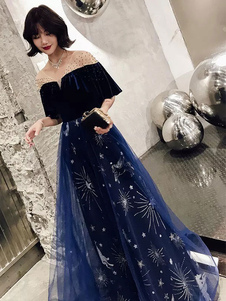 Vestidos de baile Vestido de constelação Longo Tule Veludo Patchwork Babados Glitter Maxi Vestido de festa formal