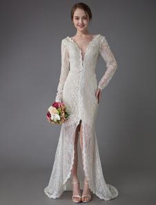 فساتين زفاف بوهوعام2020 الرباط الخامس الرقبة كم طويل غمد شاطئ فستان الزفاف مع قطار