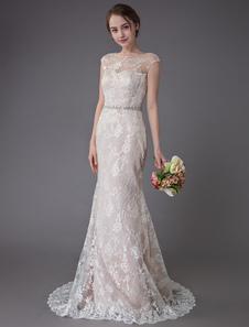 Кружева свадебное платье шампанское жемчужина без рукавов русалка свадебное платье с поездом