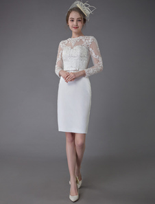 فساتين الزفاف خمرعام2020جوهرة طويلة الأكمام غمد فستان الزفاف القصير
