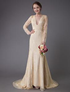 Свадебные платья Кружева V-образным вырезом с длинным рукавом спинки Русалка свадебное платье с шлейфом