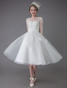Vestidos de novia vintage Tulle Bateau 3/4 Longitud manga A Line Vestido de novia Vestido de novia corto