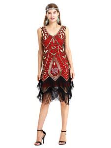 1920s Flapper Vestido Grande Gatsby Lantejoula Fringe V Neck Two Tone Mulheres Traje Retro Vestido Halloween