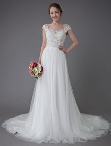 Пляжные свадебные платья Кружевные тюли Лето A Line Ivory Роскошные бисерные летние свадебные платья