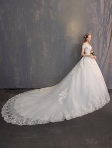 الكرة ثوب الأميرة فساتين الزفاف العاج الرباط مطرز سلاسل قبالة فستان الزفاف الكتف