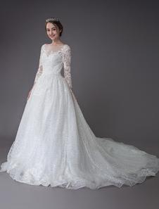 Свадебные платья с длинными рукавами и кружевами блестками Аппликация Иллюзия Свадебные платья с шлейфом