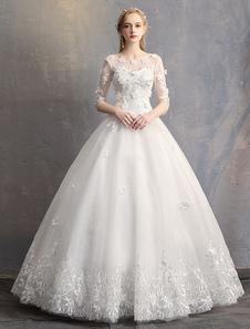 الأميرة الكرة بثوب فساتين الزفاف الزهور 3D الرباط العاج نصف كم الطابق طول فستان الزفاف