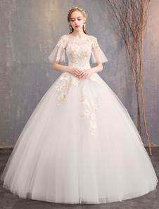 فساتين زفاف الأميرة تول جوهرة الوهم العنق زين قصيرة الأكمام الكرة ثوب ثوب الزفاف