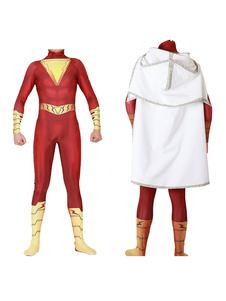 Dc Comic Cosplay Capitão Marvel Shazam Vermelho Cosplay Zentai Macacão Com Manto 2020 Halloween