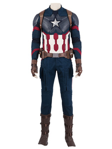 Marvel Film Cosplay Avengers 4 Endgame Captain America PU Cosplay traje con casco Halloween