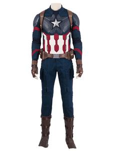 Marvel Filme Cosplay Vingadores 4 Endgame Capitão América PU Cosplay Terno Com Capacete de Halloween