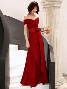 Red Evening Dress 2020 Off spalla pavimento lunghezza Satin Sash Social Prom Party Dresses