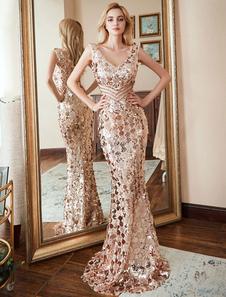 Paillettes Prom Dress 2020 Mermaid V Neck senza maniche abiti da sera formale