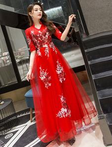 Abiti da festa di laurea di lunghezza della caviglia del manicotto del merletto del merletto del vestito da promenade 2020 da promenade rossi