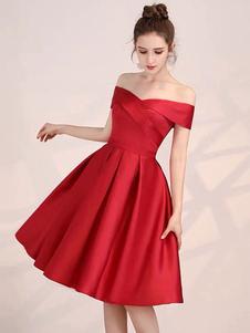Красное платье выпускного вечера 2020 атласное с плеча длиной до колен Формальные коктейльные платья