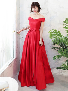 Vestido de noche 2020 Rojo fuera del hombro Longitud del piso Fiesta formal Vestido de fiesta Vestidos de graduación