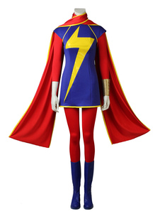 Carnevale Captain Marvel Cosplay Kamala Khan Red Marvel Comics Lycra Spandex Outfit