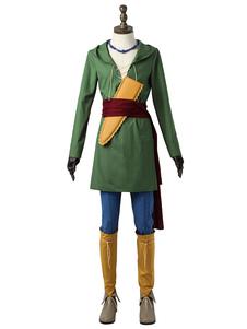 Costume Carnevale Dragon Quest Cosplay Costumes Hunter Green Camus Anime giapponesi In lino di cotone Outfit