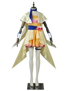 Disfraz Carnaval Pretty Cure Cosplay amarillo Kagayaki Homare satinado mate vestido Carnaval