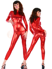 Halloween Morph Suit Red Shiny Metallic Catsuit