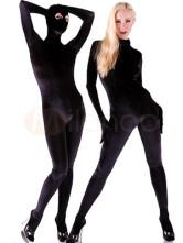 Halloween Kostüm Schwarze Lyra Spandex Catsuit Einteiler mit getrennten Kapuze Karneval