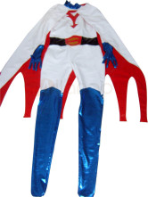 Anime Costumes AF-S2-1284 White PVC Material Unisex Super Hero Catsuit  with Cape
