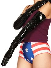 Disfraz Carnaval Guantes de PVC negro hasta hombro  Halloween