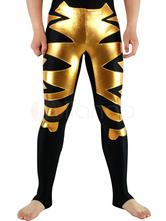 Anime Costumes AF-S2-3037 Halloween Black Lycra Spandex Wrestling Bottoms with Golden Pattern