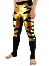Carnevale Black Lycra Spandex Wrestling Fondo con Golden Shiny Metallic Pattern Halloween