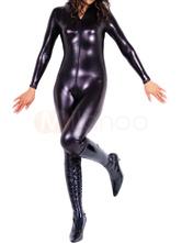 Faschingskostüm Catsuit Metallic Bodysuit in Schwarz Karneval Kostüm