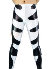 Anime Costumes AF-S2-2980 Halloween White & Black Pattern Shiny Metallic Wrestling Bottom