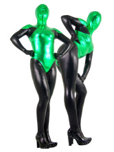 Carnevale Green & Black Unisex Metallic Shiny Suit Zentai Halloween