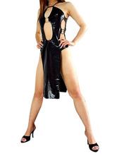 Disfraz Carnaval Sexy Negro Metálico Brillante Vestido para Halloween