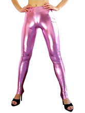 Anime Costumes AF-S2-7175 Halloween Women's Rose Pink Sexy Wrestling Pants Shiny Metallic Spandex Costume