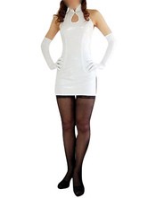 Anime Costumes AF-S2-7061 Cheongsam Catsuit Shiny Metallic White Dress Halloween Costume