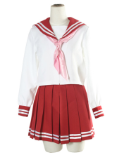 Anime Costumes AF-S2-12957 White And Red Long Sleeves Sailor School Uniform