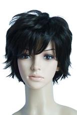 Damen kurze Perücke aus Synthetik-Haar in Schwarz