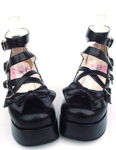 Lolitashow Sweet Matte Black Lolita High Platform Shoes Ankle Straps Heart Shape Buckles Bow