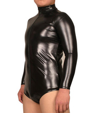 Anime Costumes AF-S2-21941 Halloween Black Front Zipper Shiny Metallic Leotard Catsuit