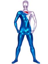 Faschingskostüm Metallic-Zentai mit Farbblock in Blau und Silber