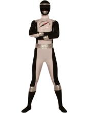 Классические черный и белый лайкра спандекс супер герой костюм Хэллоуин