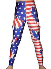 Anime Costumes AF-S2-22094 Halloween US Flag Wrestling Pants Spandex Lacra Multi-Color Men's Bodysuit