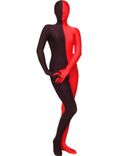 Morph Suit Red and Black Split Color Lycra Spandex Fabric Zentai Suit Unisex Full body Suit