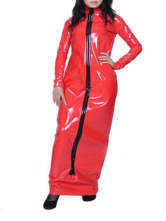 Anime Costumes AF-S2-21933 Halloween Red Long Sleeves Front Zipper Shiny Metallic Dress
