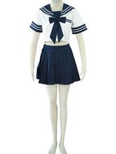 Cosplay Costume Uniforme Scolaire Bleu et Blanc Déguisements Halloween