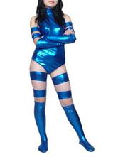 Halloween Blue Shiny Metallic Bodysuit Adult Catsuit for Woman Halloween