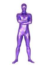 Halloween Unicolor Purple Unisex Shiny Metallic Zentai Suit Halloween